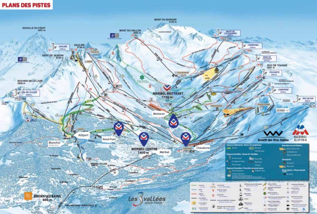Схема трасс горнолыжного курорта Мерибель Моттаре во Франции