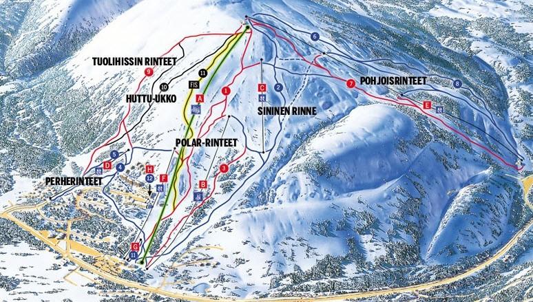 Схема трасс горнолыжного курортаПюха-Луосто в Рованиеми