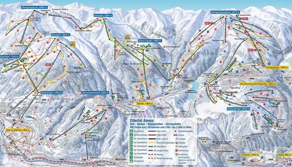 Схема трасс горнолыжного курорта Циллерталь