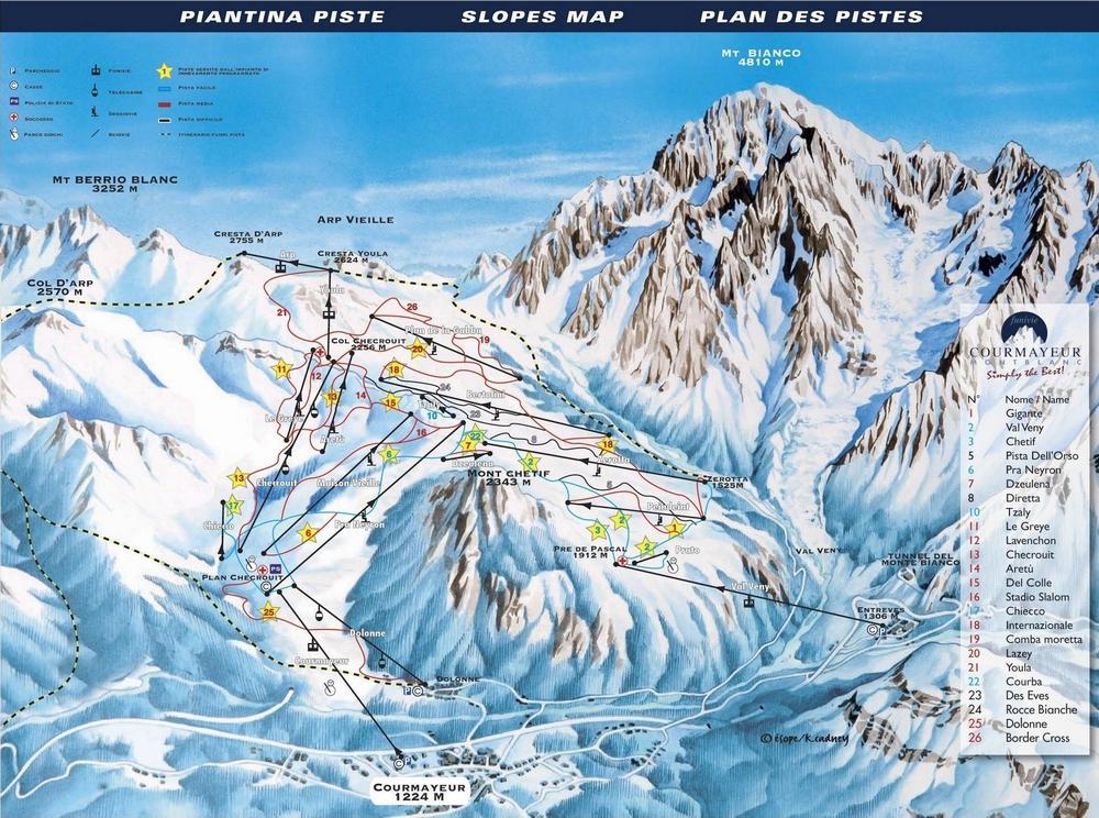 Схема трасс горнолыжного курортаКурмайор