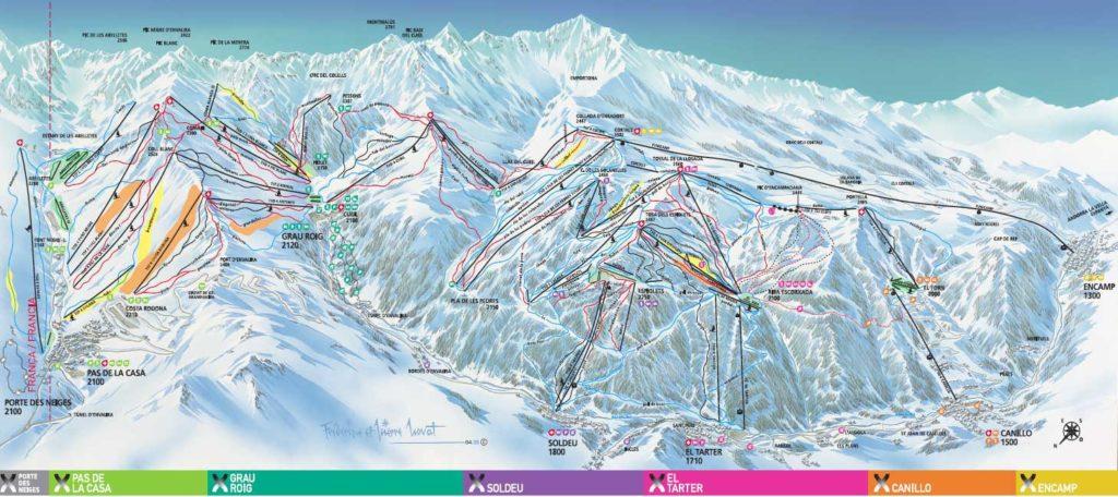 Схема трасс на горнолыжных курортах Энкамп