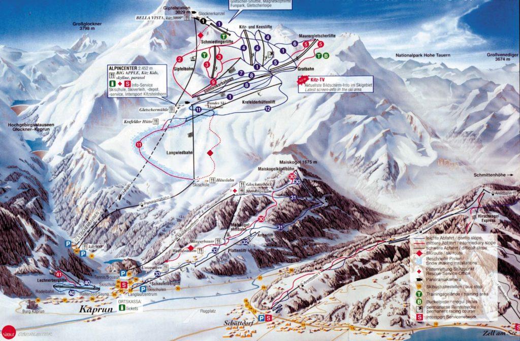 Схема трасс горнолыжного курорта Капрун