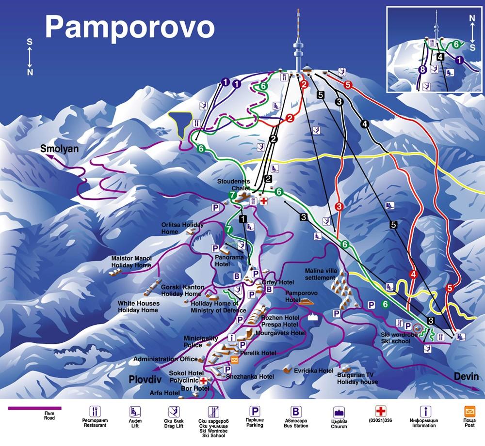 Схема трасс горнолыжного курорта Пампорово
