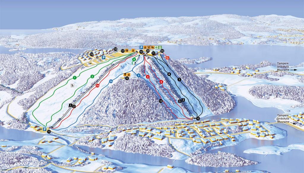 Схема трасс горнолыжного курортаОунасваара в Рованиеми