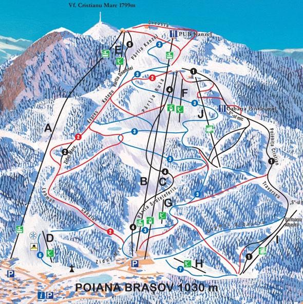 Схема трасс горнолыжного курорта Пояна Брашов