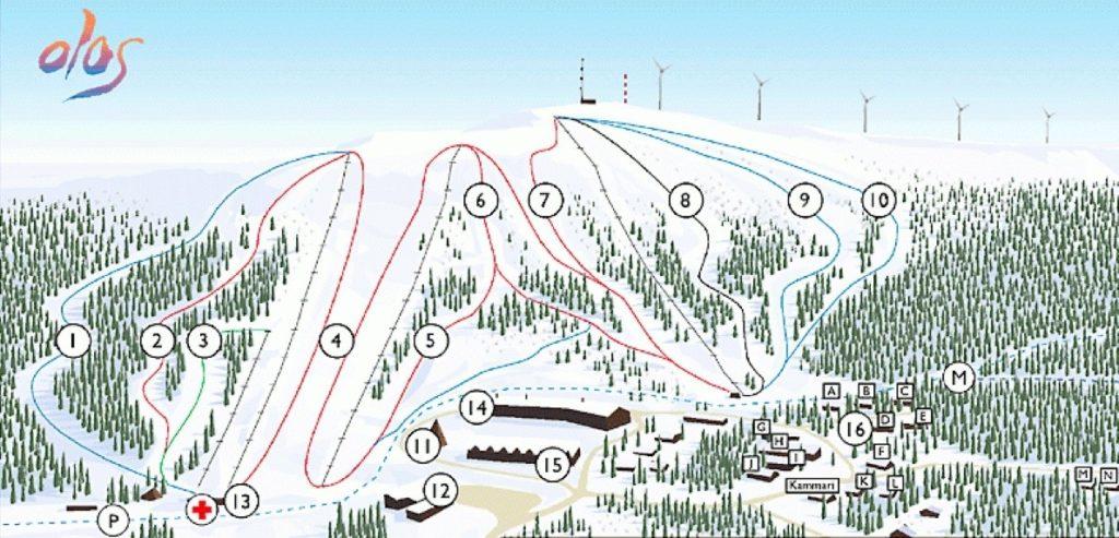 Схема трасс горнолыжного курорта Олос в Рованиеми