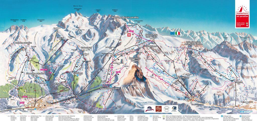 Схема трасс горнолыжных курортов в Церматте