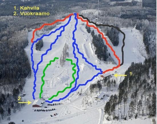 Схема трасс горнолыжного курортаРуунаринтеет в Савонлинне