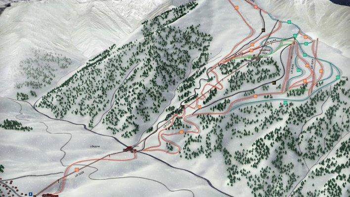 Карта трасс горнолыжного курорта Ведучи в Чечне
