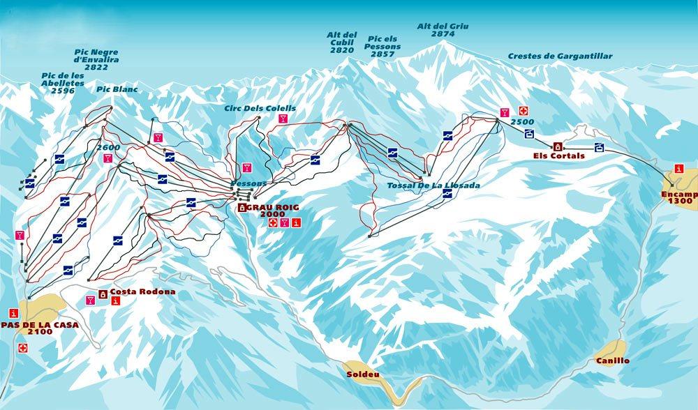 Схема трасс горнолыжного курорта Пас-де-ла-Каса