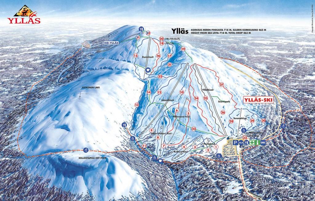 Схема трасс горнолыжного курорта Юлляс