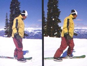 Ходьбы с одной пристегнутой к сноуборду ногой