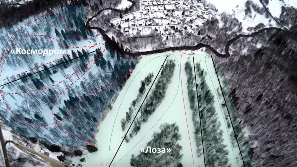 """Карта трасс горнолыжного курорта """"Лоза"""""""