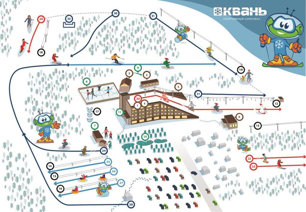"""Карта трасс и территории горнолыжного комплекса """"Квань"""""""