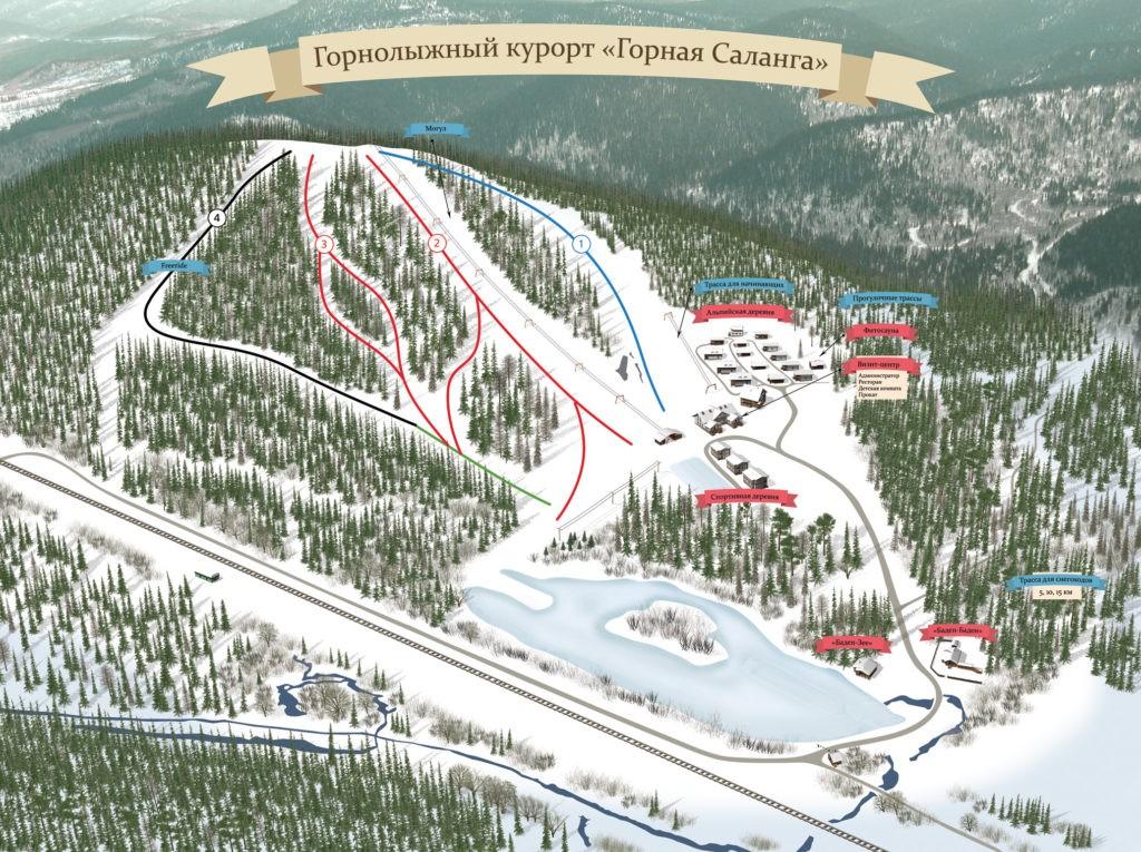 """Схема трасс горнолыжного комплекса """"Горная Саланга"""""""
