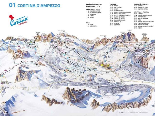 Карта трасс горнолыжного курорта Кортина д'Ампеццо в Италии
